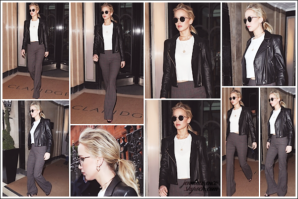 - • 21.02.18 l  De bon matin, Jennifer Lawrence a été vue quittant son hôtel le « Claridge's » situé dans Londres (UK) : Une journée plus tranquille pour Jen qui a finit la promo anglaise de son film Red Sparrow. C'est un top pour sa tenue, j'adore les lunettes et la veste !