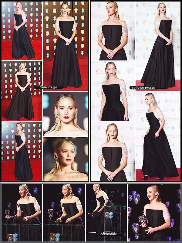 - • 18.02.18 l  Jennifer Lawrence était présente à la 71° cérémonie des « BAFTA Awards » organisée à Londres (UK) : Cinq ans après sa dernière visite, la belle était venue présenter le BAFTA du meilleur film britannique. Un top pour sa robe signée Dior, très élégante !