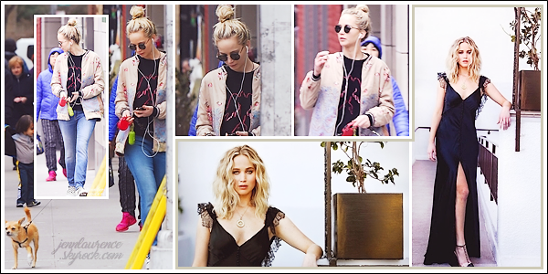 """- • 24.02.18 l Jennifer Lawrence a été vue se promenant dans les rues de """"New-York"""" avec son petit chien Pippi (US) : Peu de photos pour cette sortie et elles ne sont pas de très bonnes qualités .. Je vous joins également 02 nouveaux portraits de Jen pour LA Times !"""