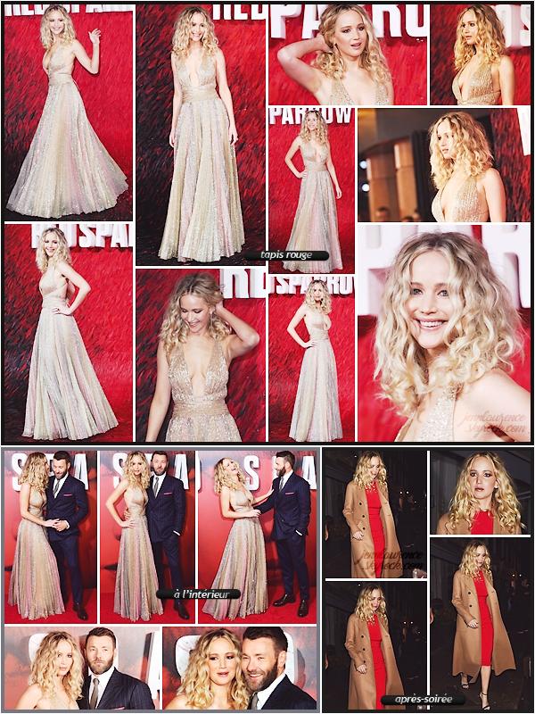 - • 19.02.18 l  Jennifer Lawrence assistait à l'avant première de son film « Red Sparrow » organisée à Londres (UK) : Première avant-première de ce film pour Jen. Énorme top pour sa robe signée (pour changer) Dior. Elle est très élégante et j'adore la mise en beauté !