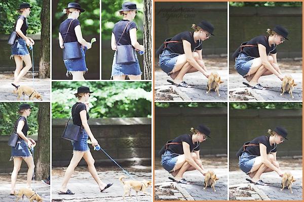 - • 25.06.18 l Jennifer Lawrence a été repérée promenant son petit chien Pippi dans « Central Park » , New-York (US) : Après un bref séjour à LA, Jenn est de retour dans la grosse pomme ! Petite tenue sympathique. En tout cas, la belle prend bien soin de son p'tit toutou !