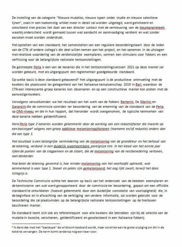 << Espressioni Fenotipiche nel Canarino Nero Perla (Vertaling door Antoon Tijhuis) >> (Bron : Italia Ornitologica N°1 - 2021)