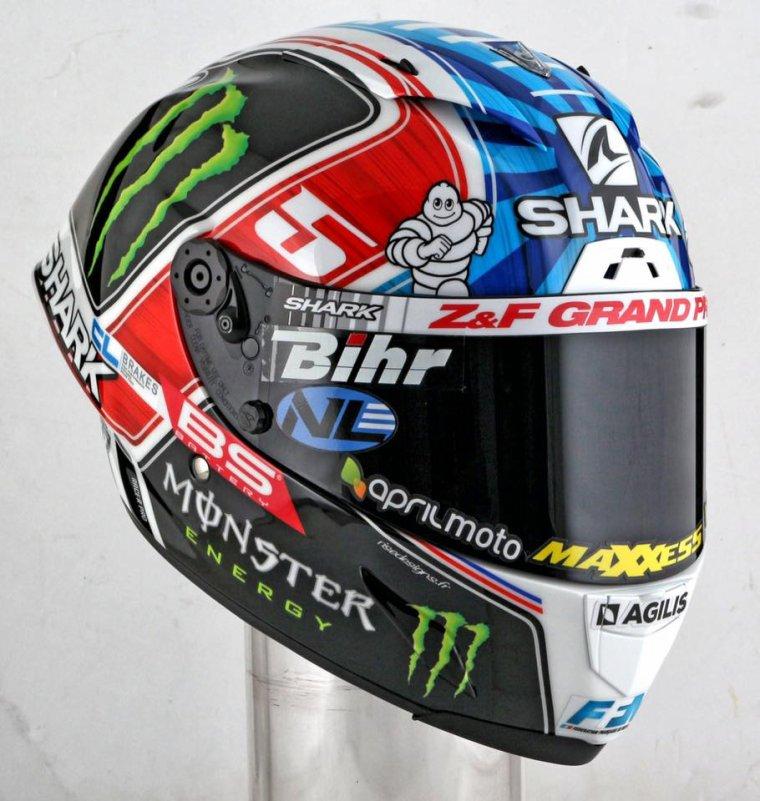 Le casque Shark de Johann Zarco alias #JZ05 pour le GP de France