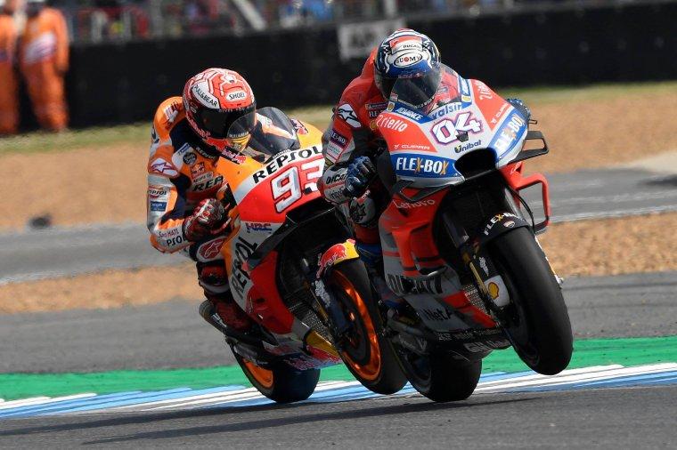 M.Marquez Honda N°93, A.Dovisiozo Ducati N°04 Motogp 2018....