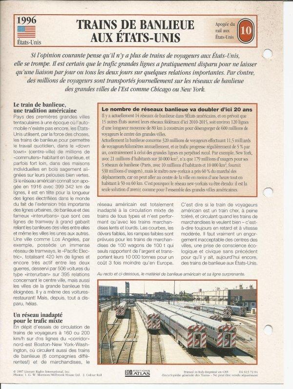 TRAINS DE BANLIEUE AUX ETATS-UNIS