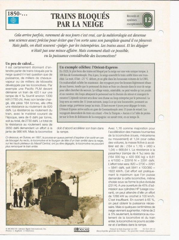 TRAINS BLOQUES PAR LA NEIGE