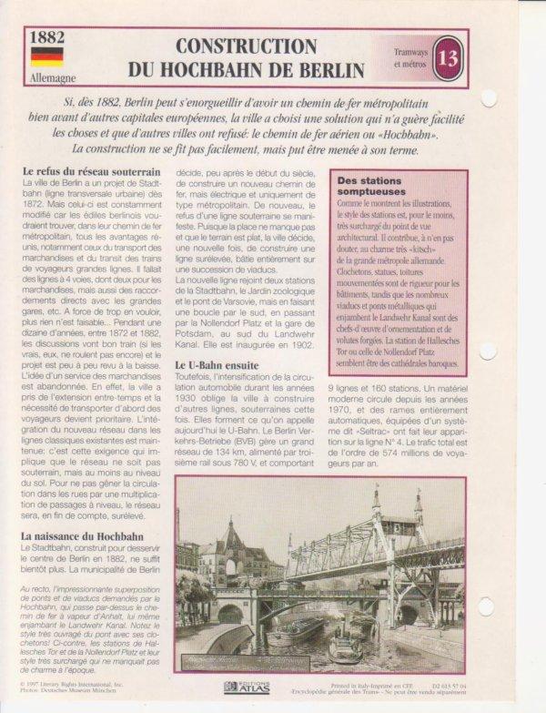 CONSTRUCTION DU HOCHBAHN DE BERLIN