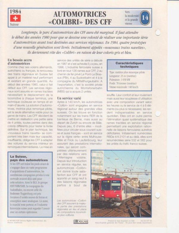 "AUTOMOTRICES ""COLIBRI"" DES CFF"