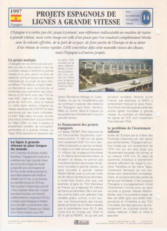 PROJETS ESPAGNOLS DE LIGNE A GRANDE VITESSE