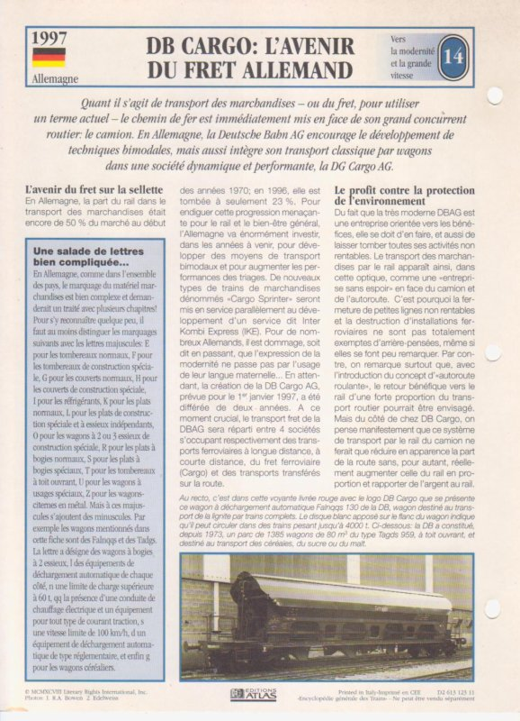 DB CARGO: L'AVENIR DU FRET ALLEMAND