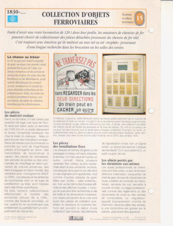 COLLECTION D'OBJETS FERROVIAIRES
