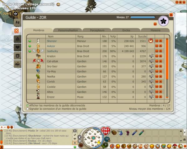 Débloquage de Frigost et nouvelle guilde