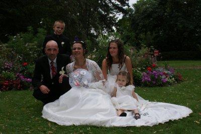 parrain marraine & julien julie justine au parc le jour du mariage