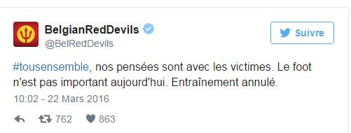 Attentats à Bruxelles: L'entrainement des Diables est annulé