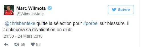 Après Origi, Benteke est forfait pour le match au Portugal