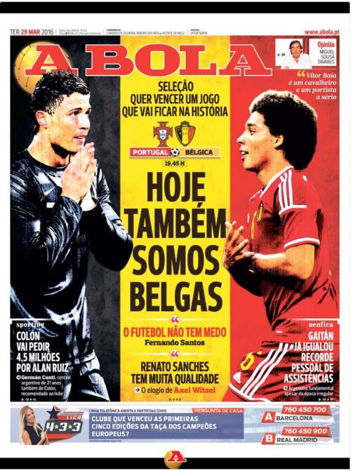 """""""Aujourd'hui, nous sommes aussi belges"""", la Une portugaise émouvante"""