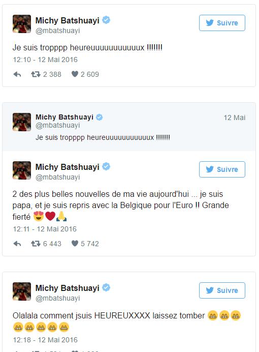 """Michy Batshuayi, sélectionné et papa, est """"troppp heureuuuux"""""""