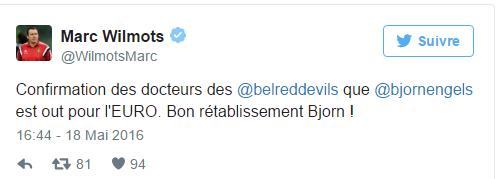 Bjorn Engels forfait pour l'Euro