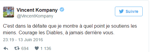 Kompany encourage les Diables après la défaite contre l'Italie