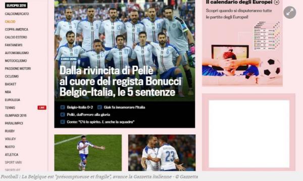 """La Belgique est """"présomptueuse et fragile"""", avance la Gazzetta italienne"""
