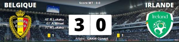 Belgique - Irlande 3-0