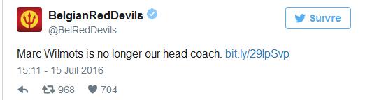 officielle: Marc Wilmots n'est plus l'entraineur des diables rouges!