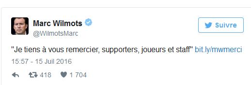 """Wilmots tire son bilan: """"Je tiens à remercier supporters, joueurs et staff"""""""