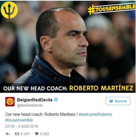 officielle: L'Espagnol Roberto Martinez succède à Wilmots à la tête des Diables !