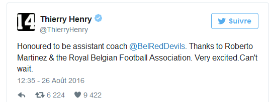 Officiel: Thierry Henry assistant de Roberto Martinez chez les Diables Rouges
