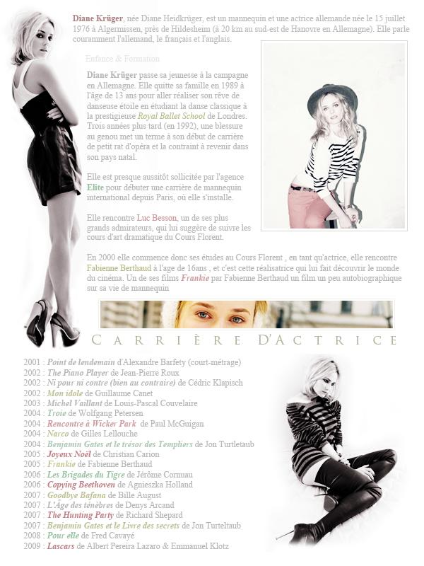 Diane Kruger . Tout savoir sur elle ... Source : Wikipédia