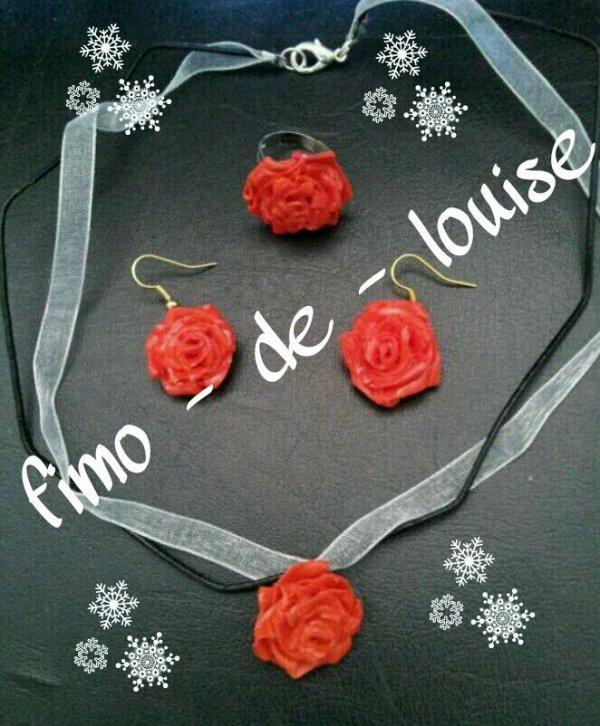 parure rose rouge