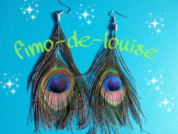 Boucles d'oreille Paon