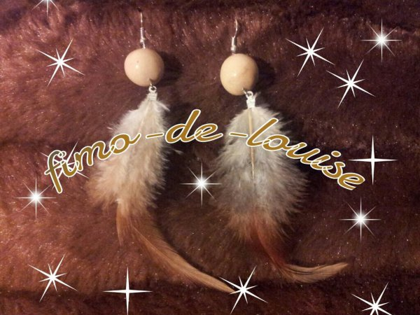 perle beige plume assortie