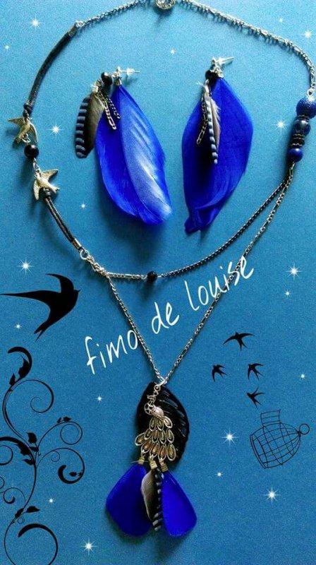 Parure bleu petits  oiseaux