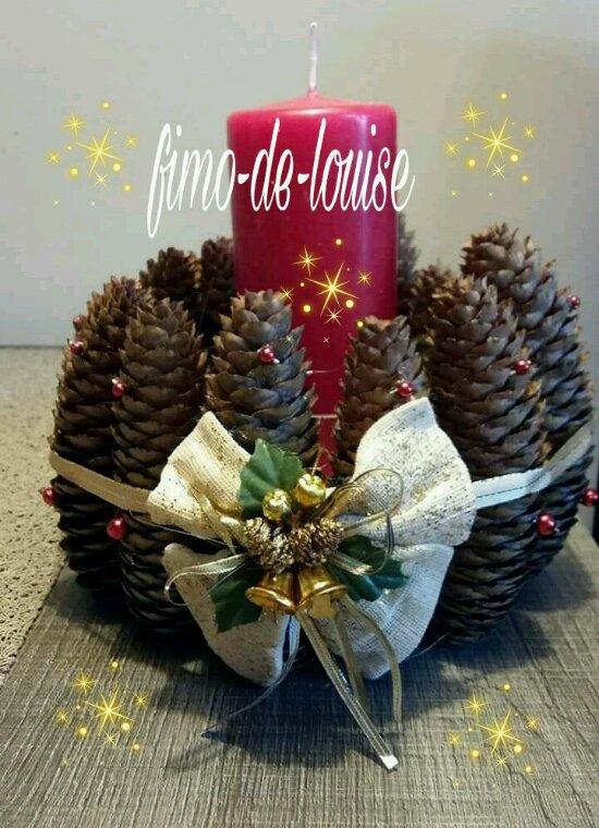 Gros bougeoir de Noël   pomme de pin
