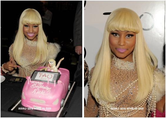 Nicki's Birthday Party.Nicki Minaj feta ses 26 Ans au TAO Bistro à Las Vegas en compagnie de Lil Wayne Baby, Shanell, Birdman, & plein d'autres. Nicki était juste magnifique : Grand T0P