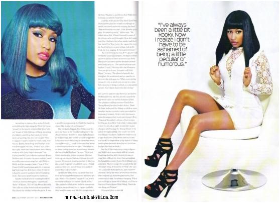 Nicki Minaj dans XXL Magazine. Voici quelques scans des photos du magazine avec Nicki, qui sortira en janvier 2011. Elle est très sexy dans cette tenue qui va tres tres bien avec cette perruque bleue : C'est un T0P