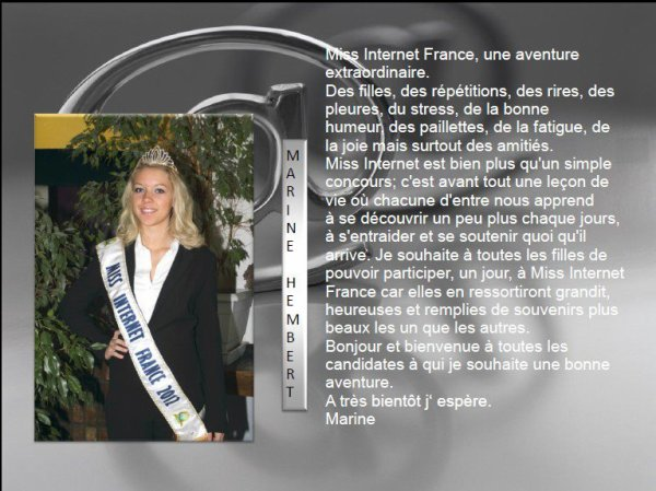 mot de Miss Internet France 2012