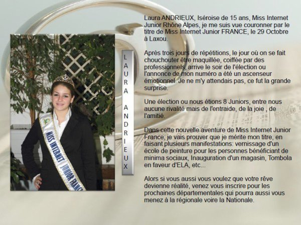 mot  de Miss Internet Junior France 2012