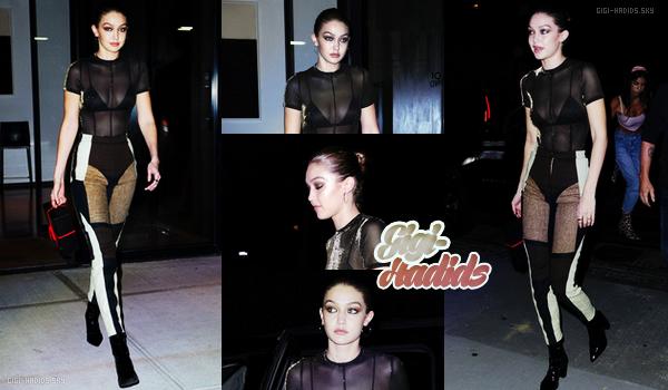 09/10/2018 •  Dans la soirée, Gigi arrivait à la soirée d'anniversaire de sa soeur Bella Hadid. Sortie très sombre mais très chic ! J'aime beaucoup sa tenue ! C'est spéciale mais vraiment soigné avec l'association du marron noir et blanc. TOP !  -