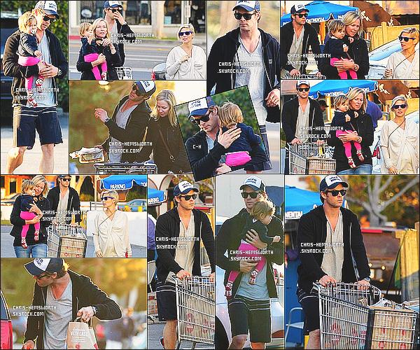 9/01/2014 : Chris  à été vu  avec sa fille et sa femme Elsa faisant des courses à Whoole Foods à  Santa Monica