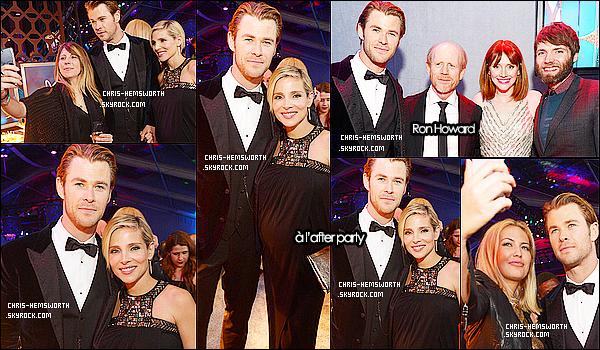 12/01/2014 : Chris  et sa femme Elsa Pataky étaient au   « Golden Globes Awards 2014 » à  Beverly Hills       Elsa était radieuse dans sa robe, j'adore sa coiffure , Quant à Chris il était très élégant  , le film Rush n'a malheureusement rien gagné