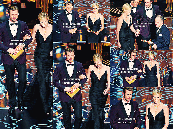 2/03/2014 : Chris était avec sa femme Elsa très enceinte à la cérémonie des  Oscars 2014 à Los Angeles       Chris était vraiment très élégant  dans son costume bordeaux et noir, Les deux frères de Chris : Luke et Liam étaient présents