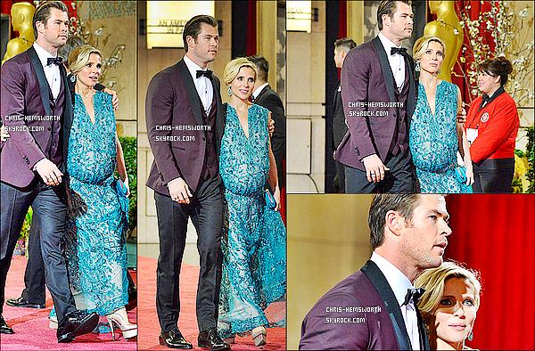 ● 2/02/2014 : Chris et sa femme Elsa ont été vu quittant les Academy Awards ! Ils sont magnifiques tous les deux