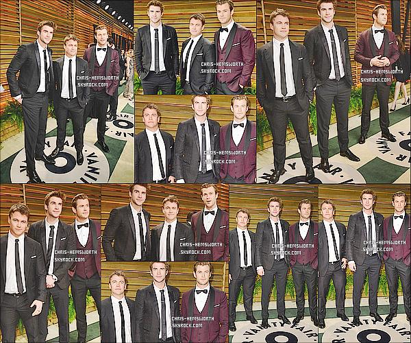 ● 2/02/2014 : Chris et ses frères Liam (le plus jeune) et Luke (le plus âgé) étaient au Vanity Fair Oscar Party