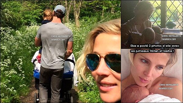 . La petite famille :Chris , sa femme , leur fille India et leurs jumeaux : Tristan et Sasha ont été vu se promener  .