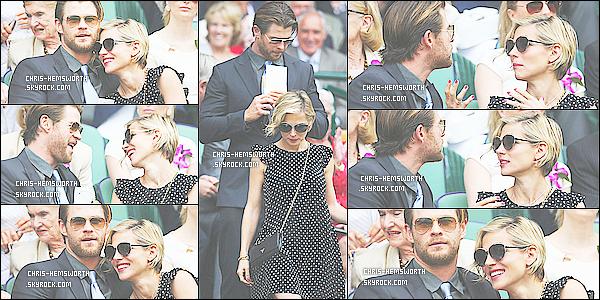 5/07/2014 : Chris et sa femme Elsa assistaient à la finale homme de Wimbledon à Londres en Angleterre     Le couple est très mignon tous les deux et sont très complices ça fait plaisir de les voir amoureux comme cela , c'est un beau candid