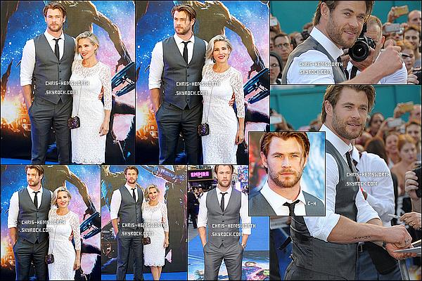 . 24/07/2014 : Chris était avec sa femme à la première de  « Guardians of the Galaxy » à Londres (Angleterre) Chris aurait un tatouage sur le bras , plus mauvaise nouvelle la sortie de Avengers : Age of Ultron est repoussée au 1er Mai 2015   .