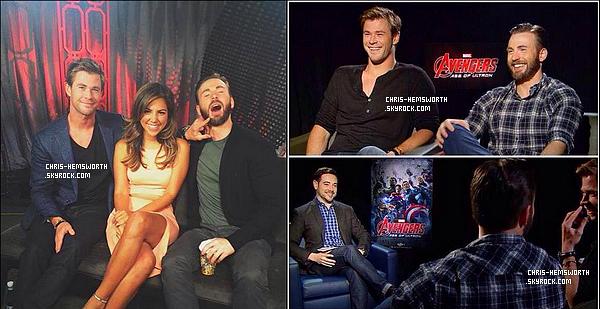 CONFÉRENCE PRESSE :   Chris , Robert Downey Jr et C. Evans font la promo' de Avengers l'ère d'ultron