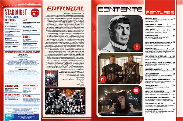 → Chris et ses co-stars font la couverture du magazine « Starburst»